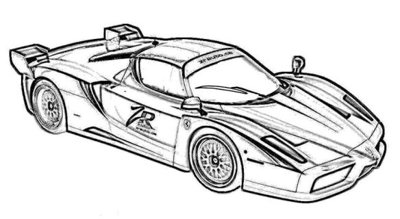 Even on a coloring book page, there's nothing quite like a Ferrari.
