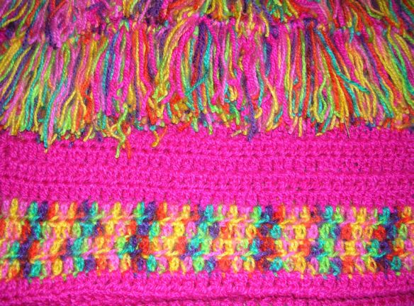 Bright Pink Multi-Color Afghan