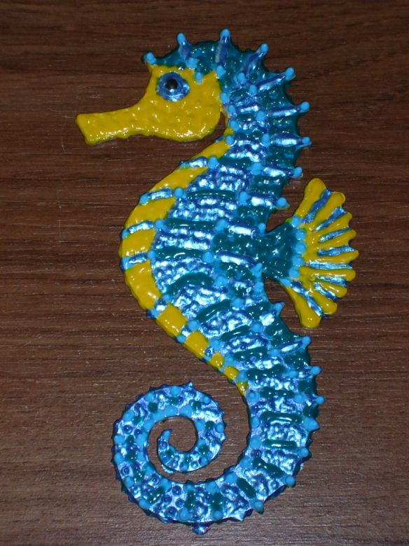 Revised Wood Turquoise Seahorse