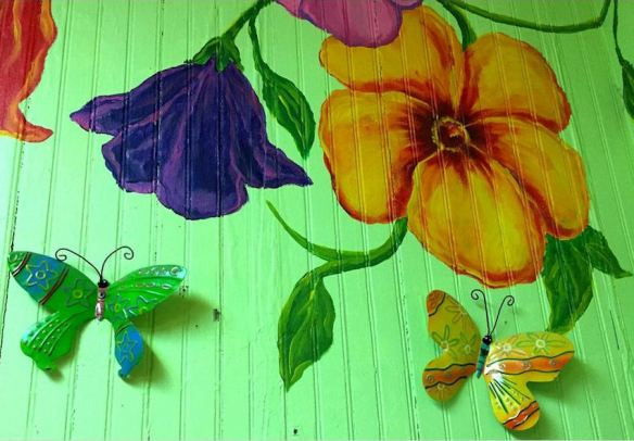 Floral Wall Mural with Metal Butterflies