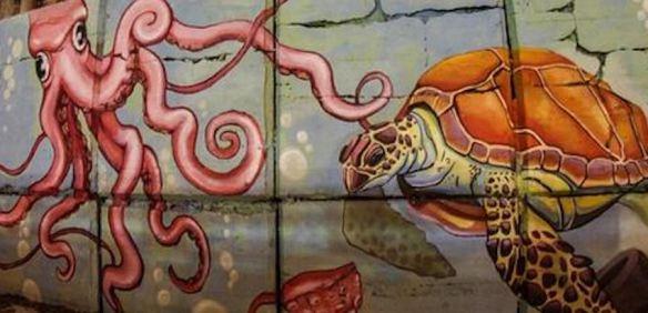 Ocean-Themed Exterior Wall Mural