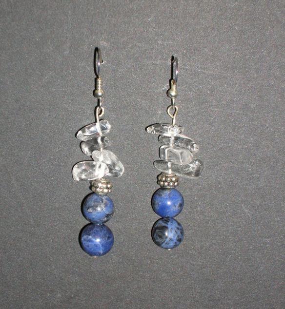 Sodalite & Clear Quartz Earrings