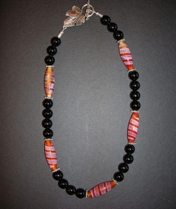 Black Onyx & Carnelian Necklace