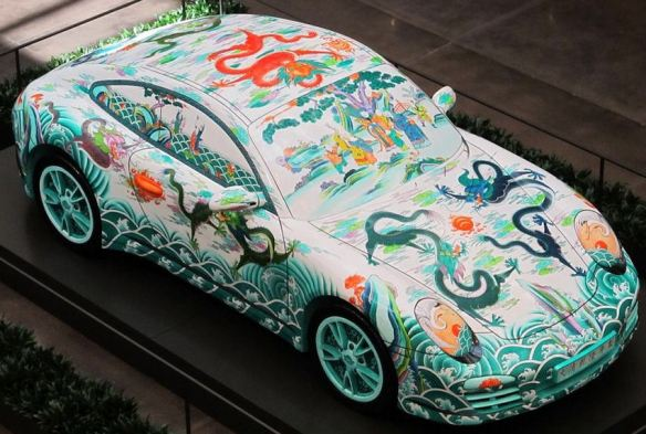 Asian Water Dragons Mural on a Porshe