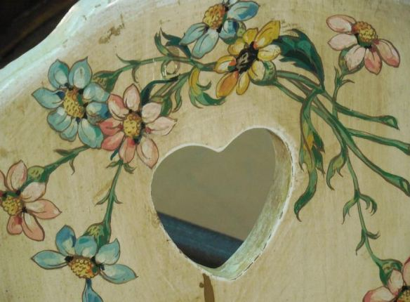 Antiqued Wood Chair with Painted Floral Seat Back