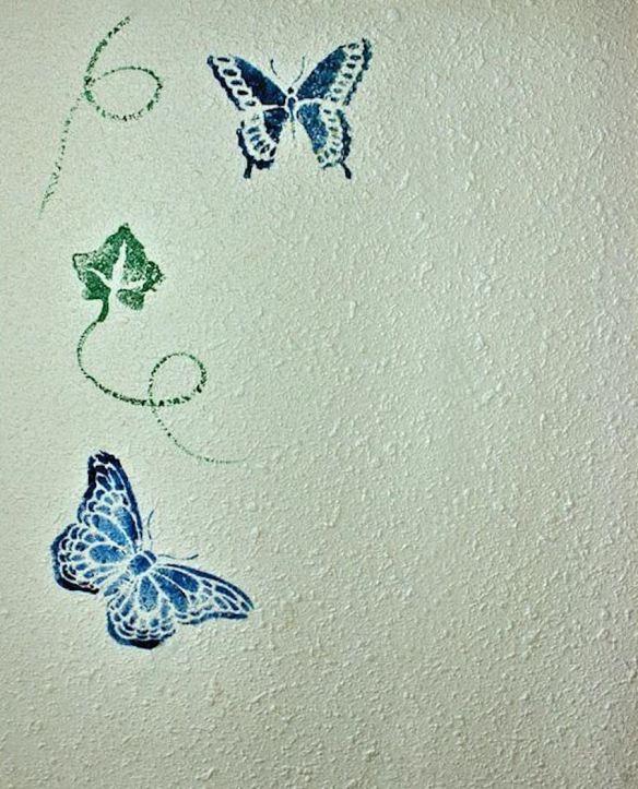Stenciled Butterflies & Vines