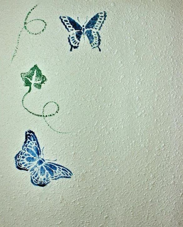 Stenciled Butterflies & Vines