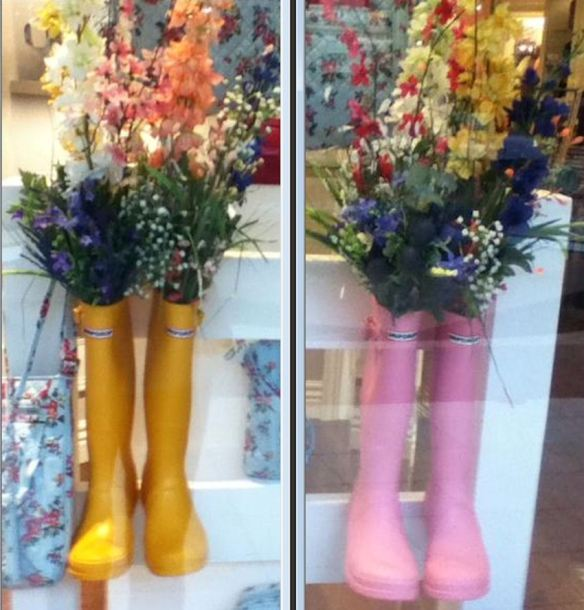 Yellow & Pink Rain Boots with Gladiolas and Wild Flowers