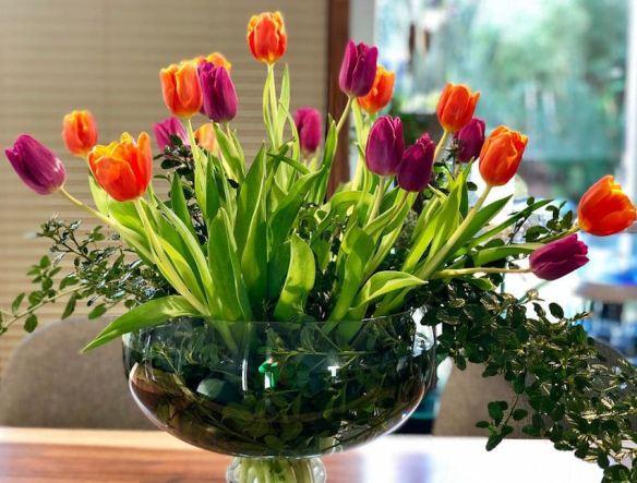 Glass Bowl with Orange & Purple Tulips