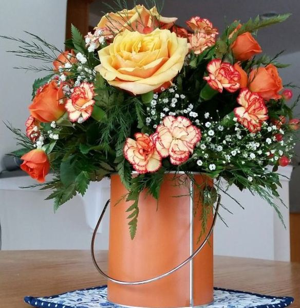 Paint Can with Peach Roses & Carnations
