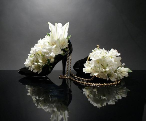 Black Stiletto Pump & Evening Bag with White Alstroemeria