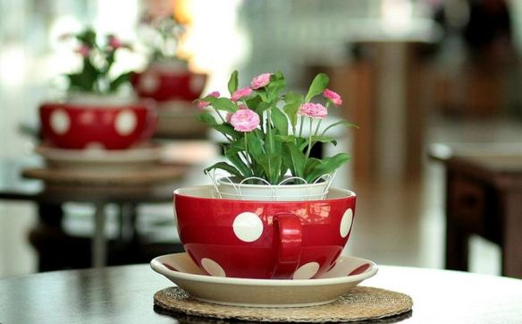 Tea Cup & Saucer with Pink Flowers