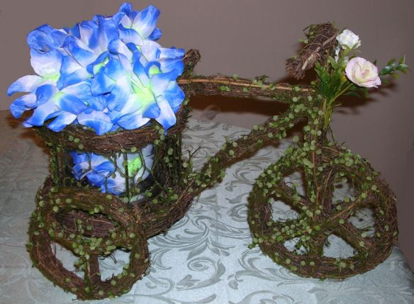 Grapevine Tricycle with Blue & White Orchids