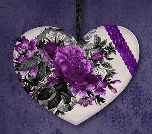 Purple & White Heart