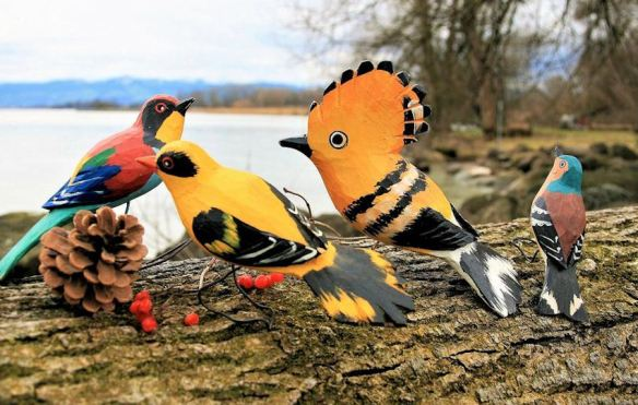 Painted Carved Wood Birds