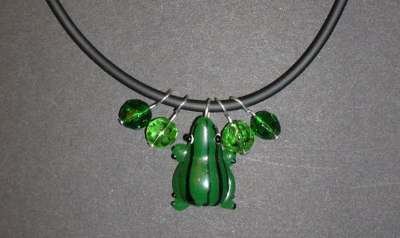 Necklace – Lampwork Glass Frog & Glass Beads on a Cord