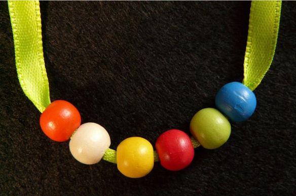 Necklace - Large-Hole Resin Beads on Ribbon