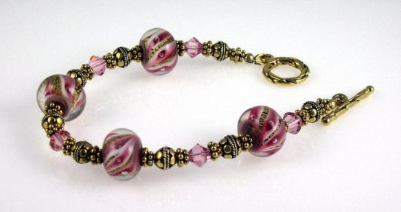 Bracelet -Large-Hole Glass Beads and Metal Beads on wire