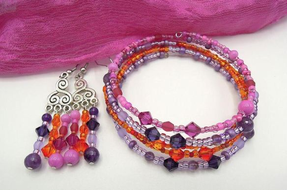 Earring & Bracelet - Crystal & Glass Seed Beads