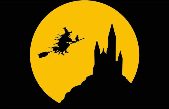 Witch Flying Across Full Moon