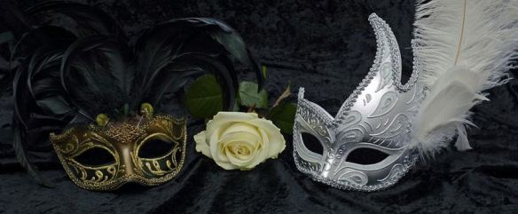 Black & Gold and All White Feathered Masks