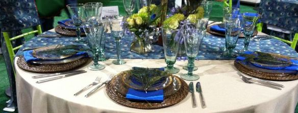 Exotic Blue Peacock Place Setting