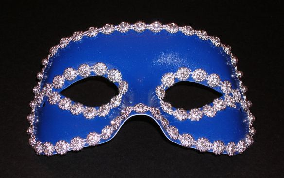 Mask - Painted Blue and Outlined with Rhinestones