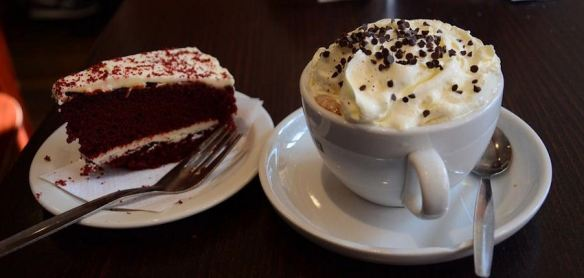 Hot Chocolate & Red Velvet Cake