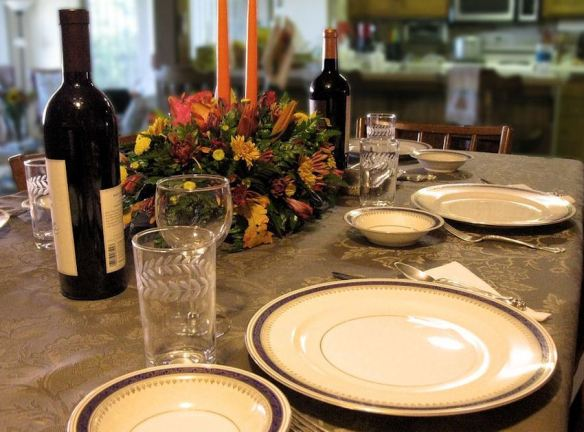 Traditional Thanksgiving Table with Wine & Flowers