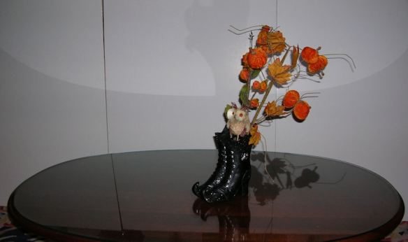 Boots with Floral Stems & Owl