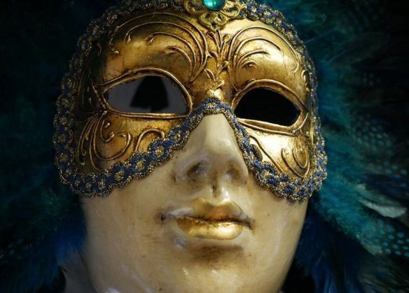 Turquoise & Gold Feathered Mask