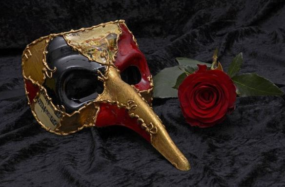 Red, Black & Gold Long Nose Joker Mask