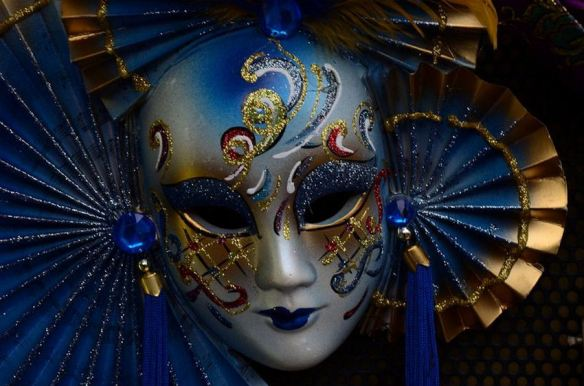 Blue & Gold Asian Mask
