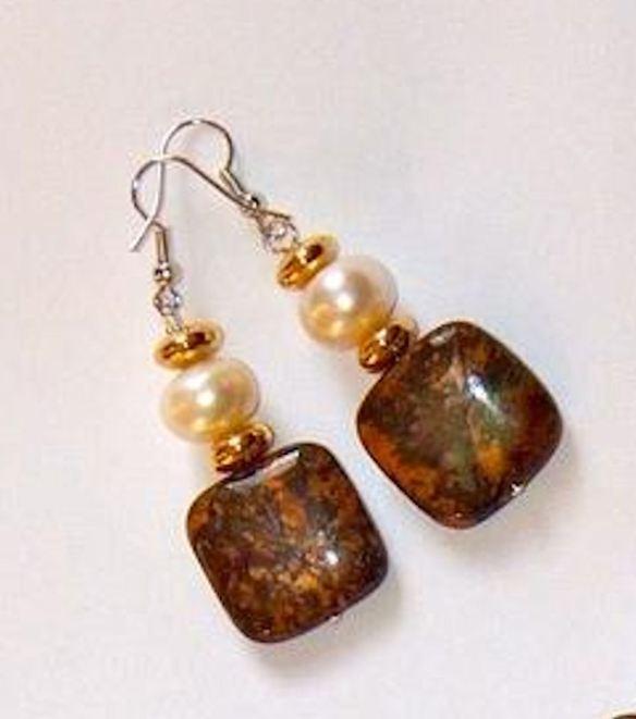 Jasper& Pearl Earrings
