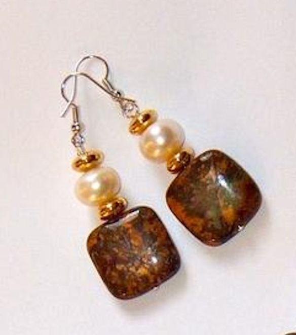 Jasper& Pearl Earrings