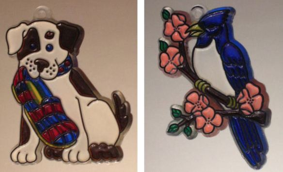 Dog & Bluebird Suncatchers