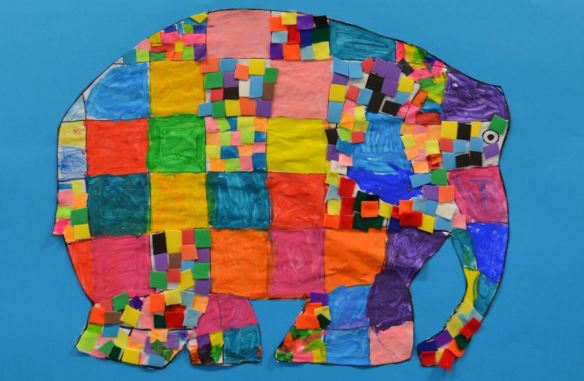 Fabric Elephant Collage