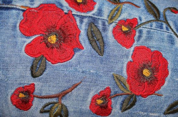 Floral Embroidery on Denim