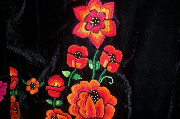Floral Embroidery on Velvet