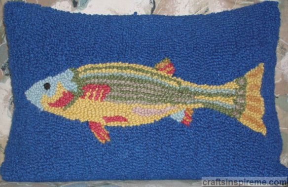 Hand Hooked Fish Pillow