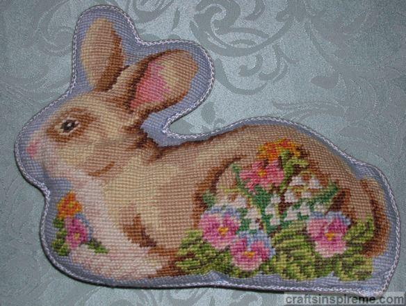 Needlepoint Rabbit Pillow