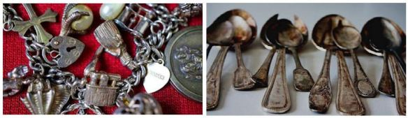 Tarnished Silver Jewelry & Spoons