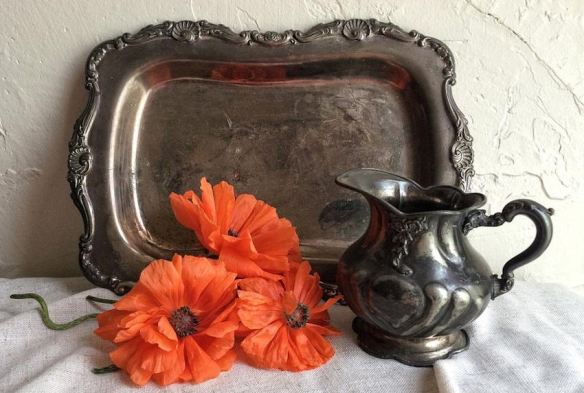 Tarnished Tray & Pitcher