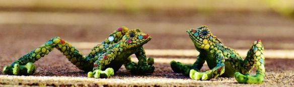 Mosaic Frog Figurines