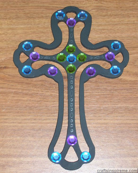 Silver Pastel Jeweled Cross
