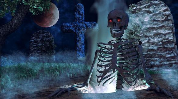Spooky Cemetery Skeleton