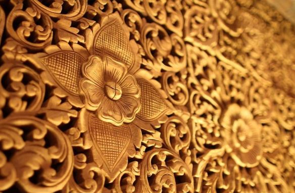 Detailed Floral Wood Carving