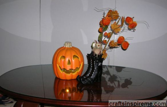 Witch Boots with Pumpkin