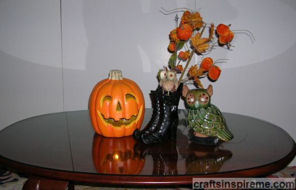 Witch Boots with Pumpkin & Owl
