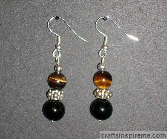 Tigerseye Black Onyx Earrings